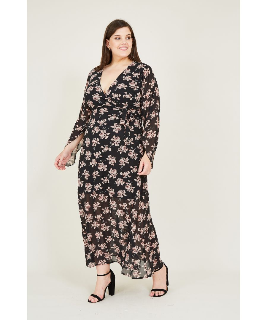 Image for Floral Printed Frill Detail Midi Dress