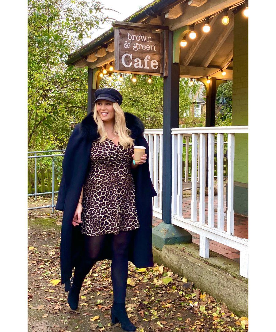 Image for Mela London Curve Leopard Knitted Wrap Front Skater