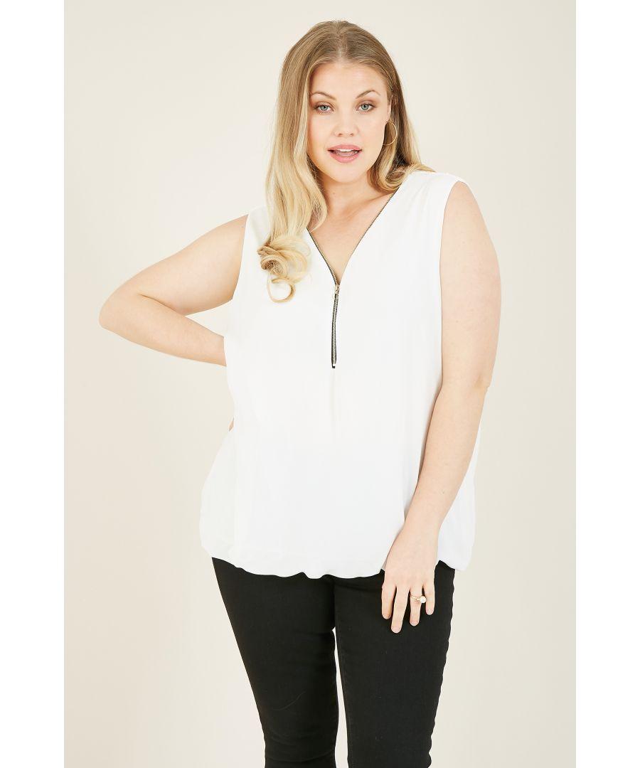 Image for Mela London Curves Zip Detail Sleeveless Blouse