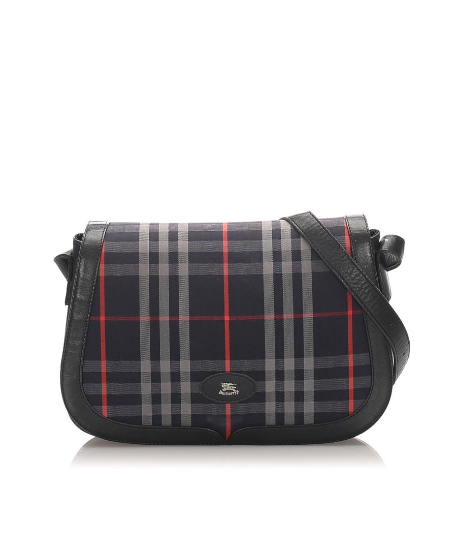 Image for Vintage Burberry Plaid Canvas Shoulder Bag Blue