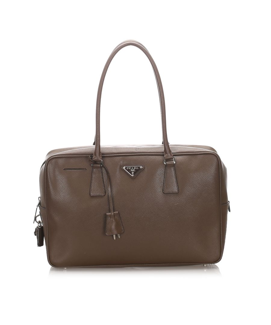 Image for Vintage Prada Saffiano Bauletto Shoulder Bag Brown