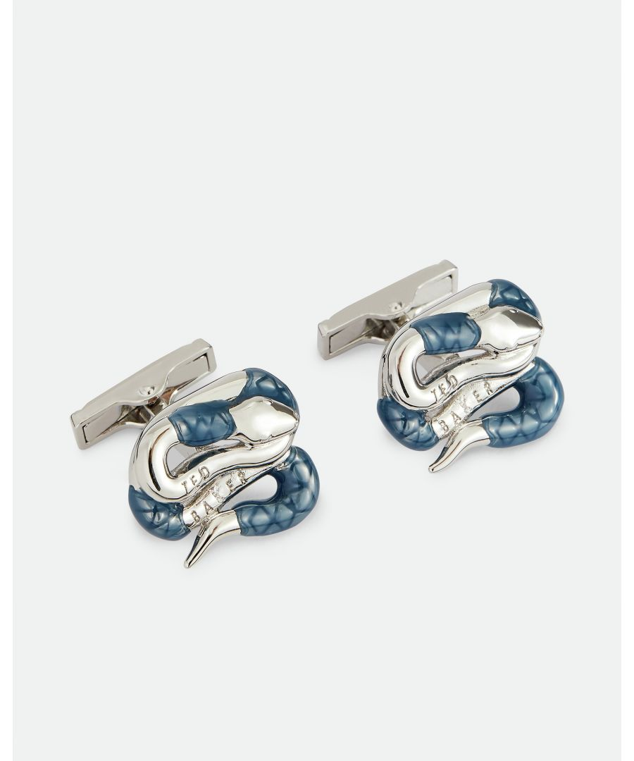 Image for Ted Baker Mester Coiled Snake Cufflinks, Silver