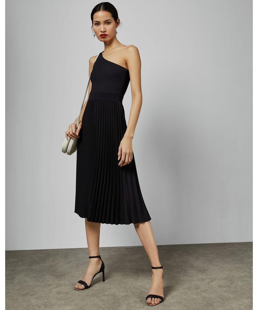 Image for Ted Baker Miriom Asymmetric Knitted Midi Dress, Navy