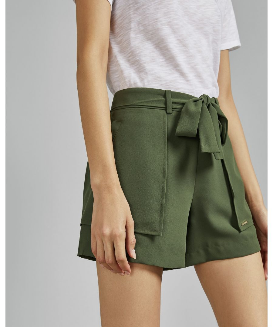 Image for Ted Baker Mitty Tie Waist Shorts, Khaki