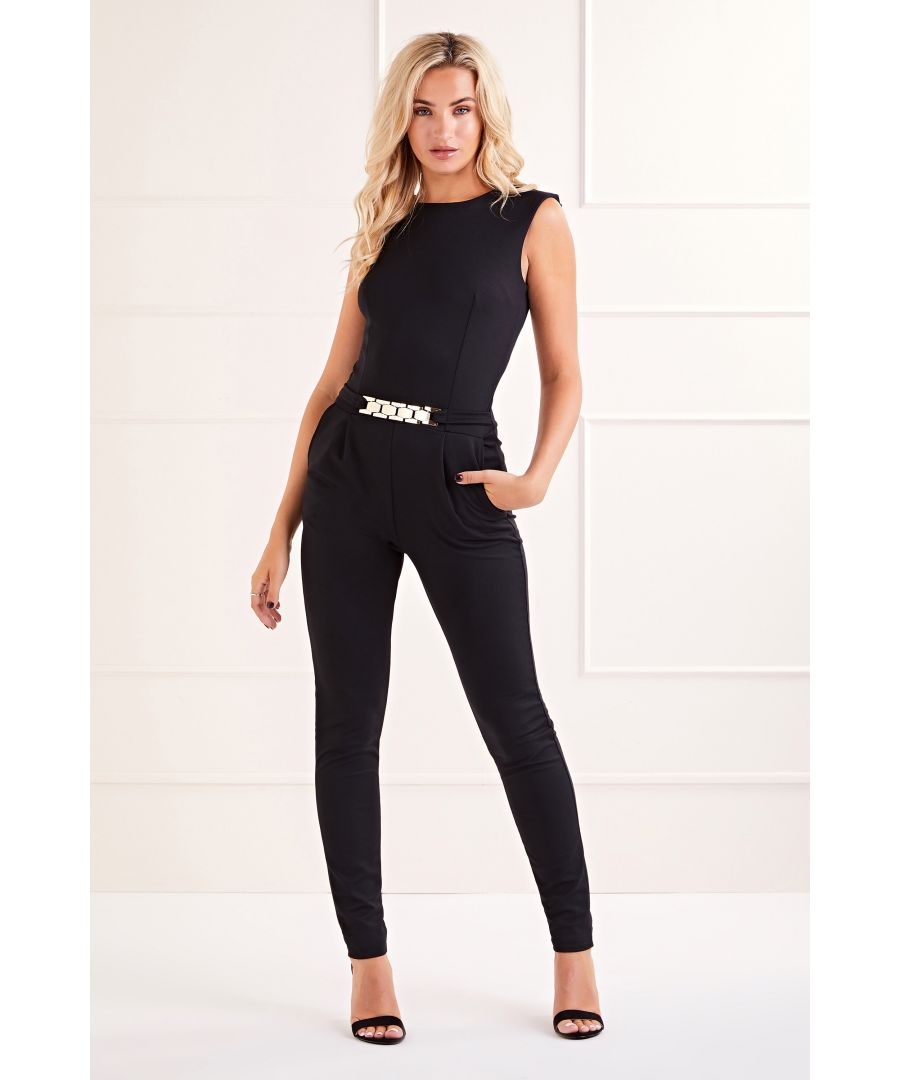 Image for Black Belted Sleeveless  Jumpsuit