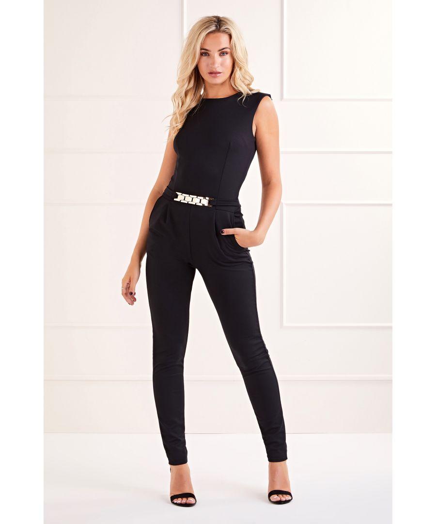 Image for Black Belted Sleeveless  Jumpsuit