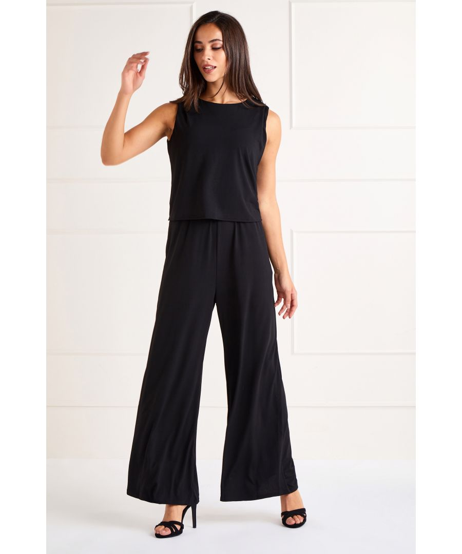 Image for Black Slinky Jersey Overlay Jumpsuit