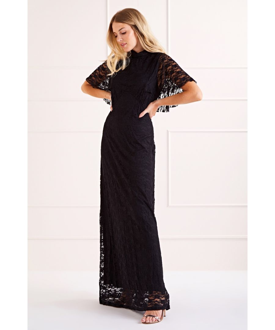 Image for Cape Top Lace Maxi Dress