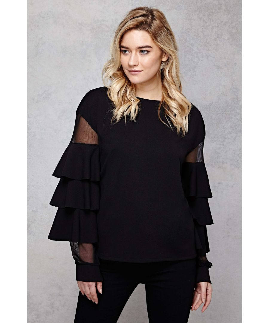 Image for Scuba Mesh Frill Sleeve Top