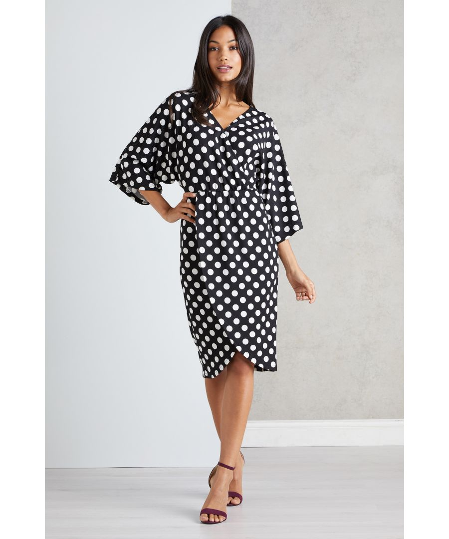 Image for Polka Dot V Neck Wrap Dress