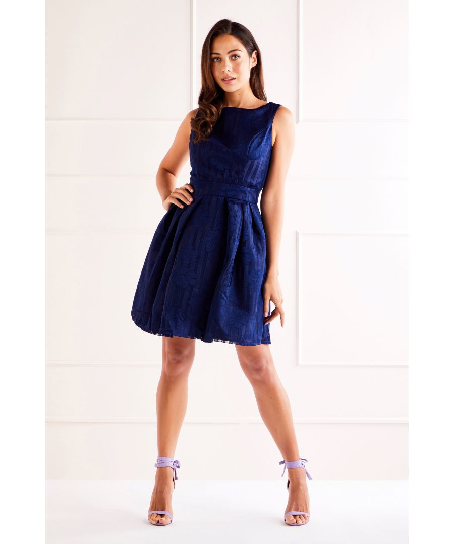 Image for Navy Floral Embossed Prom Dress