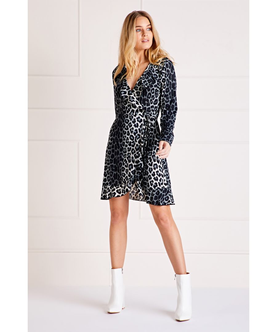 Image for Grey Leopard Print Ruffle Neck Dress
