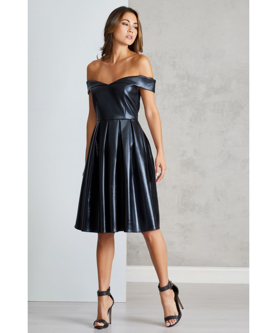 Image for Wet Look Bardot Prom Dress