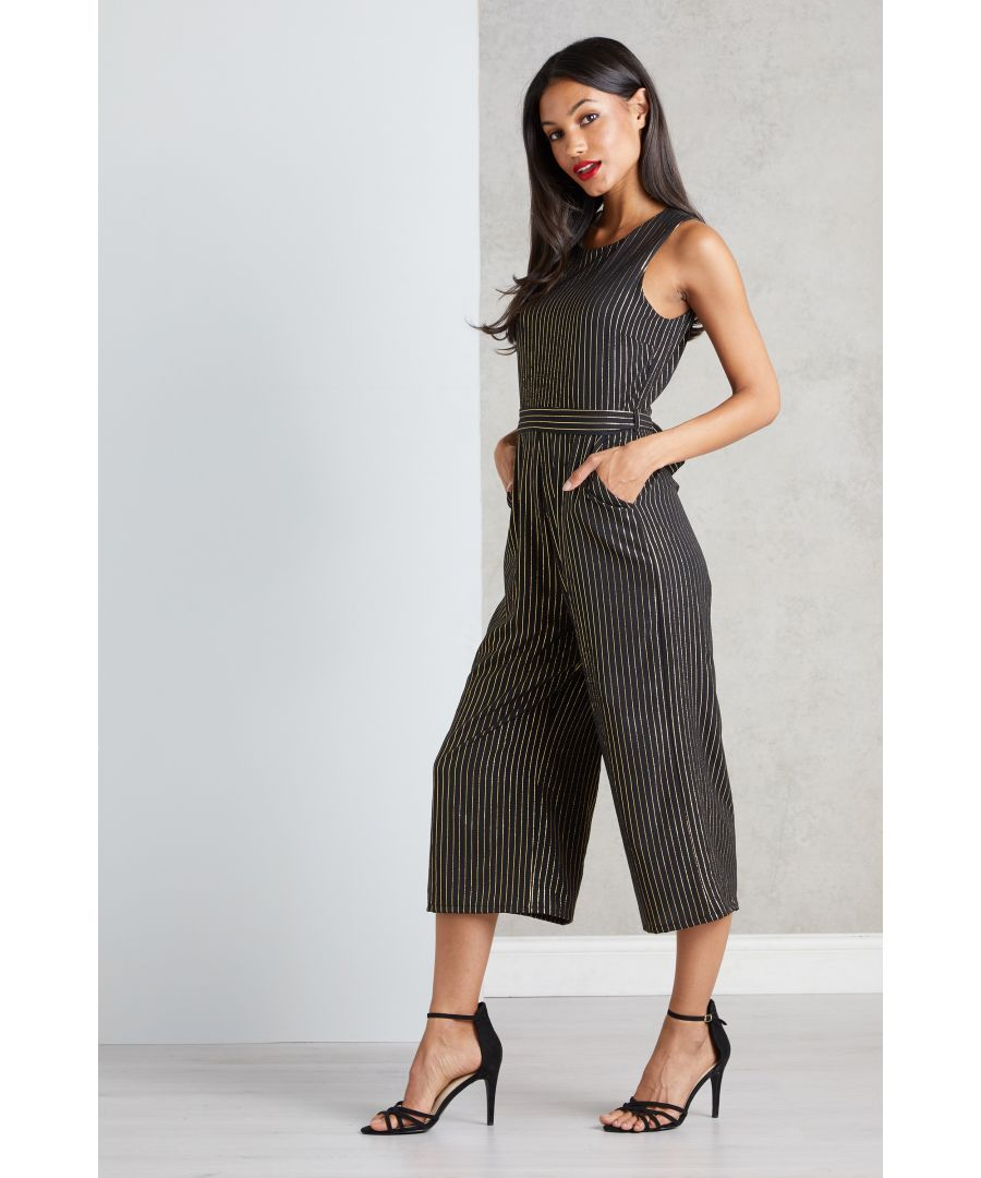 Image for Metallic Striped Culotte Jumpsuit