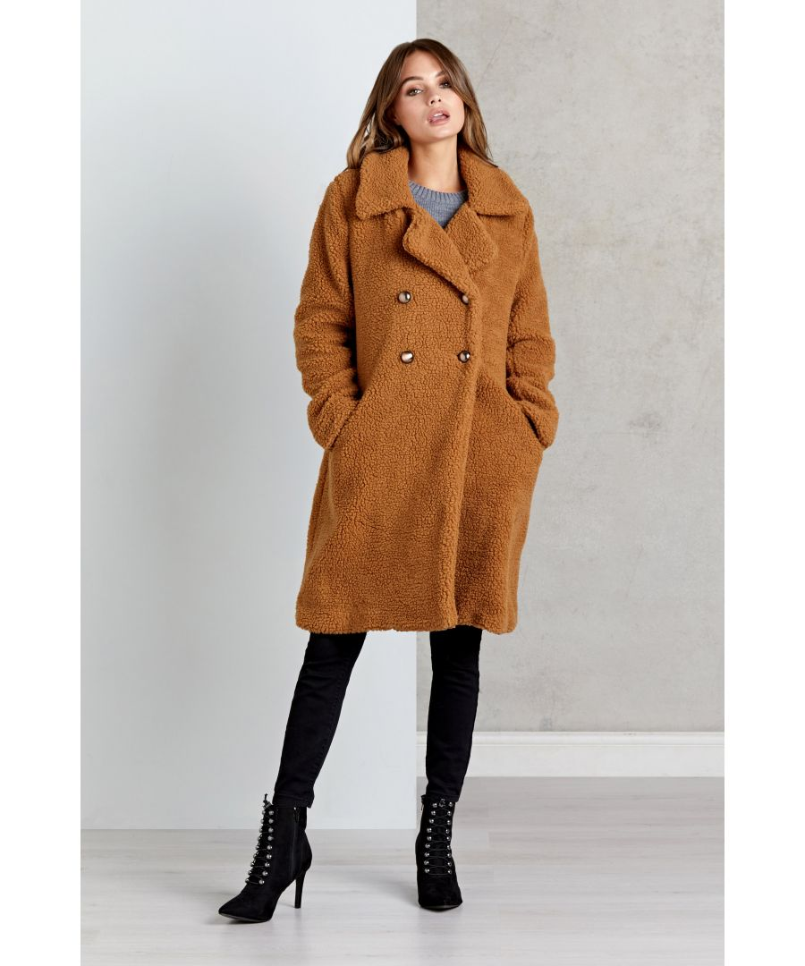 Image for Tan Faux Fur Teddy Bear Oversized Coat