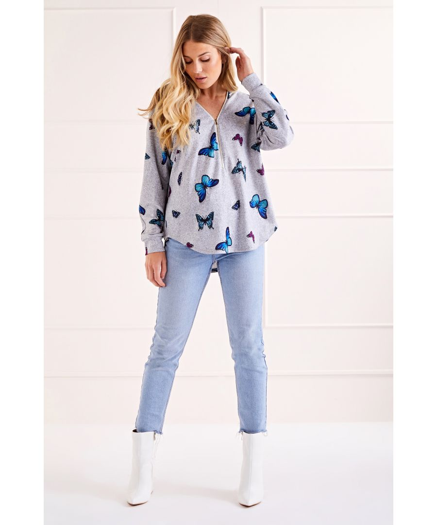 Image for Grey Butterfly Zip Front Jumper