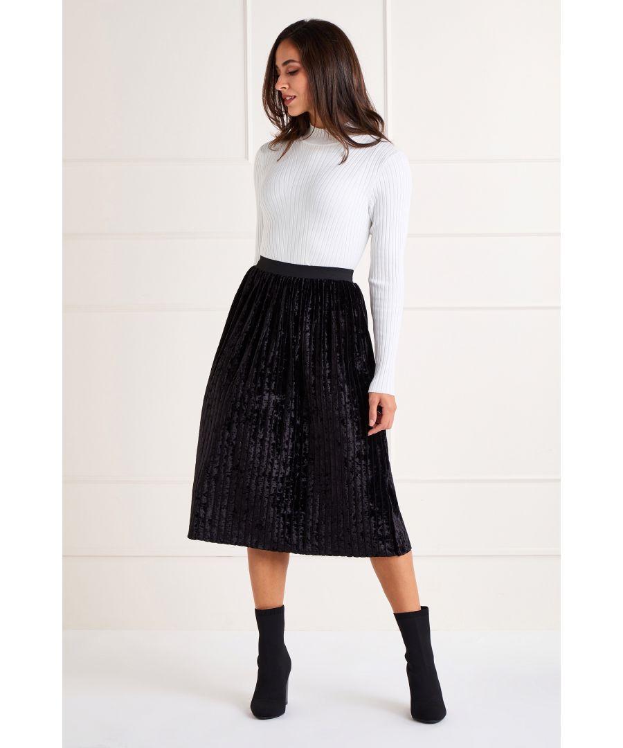 Image for Black Velvet Pleated Skirt