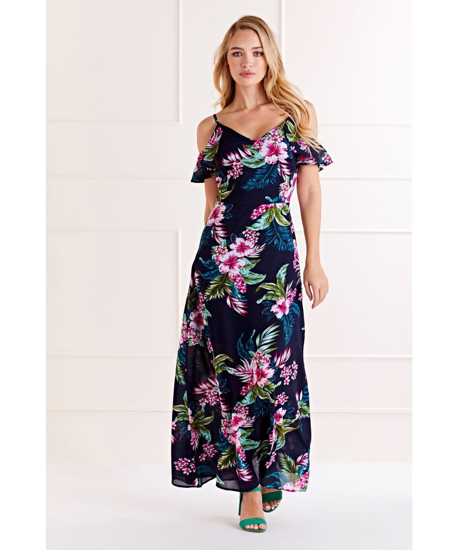 Image for Navy Tropical Cold Shoulder Maxi Dress