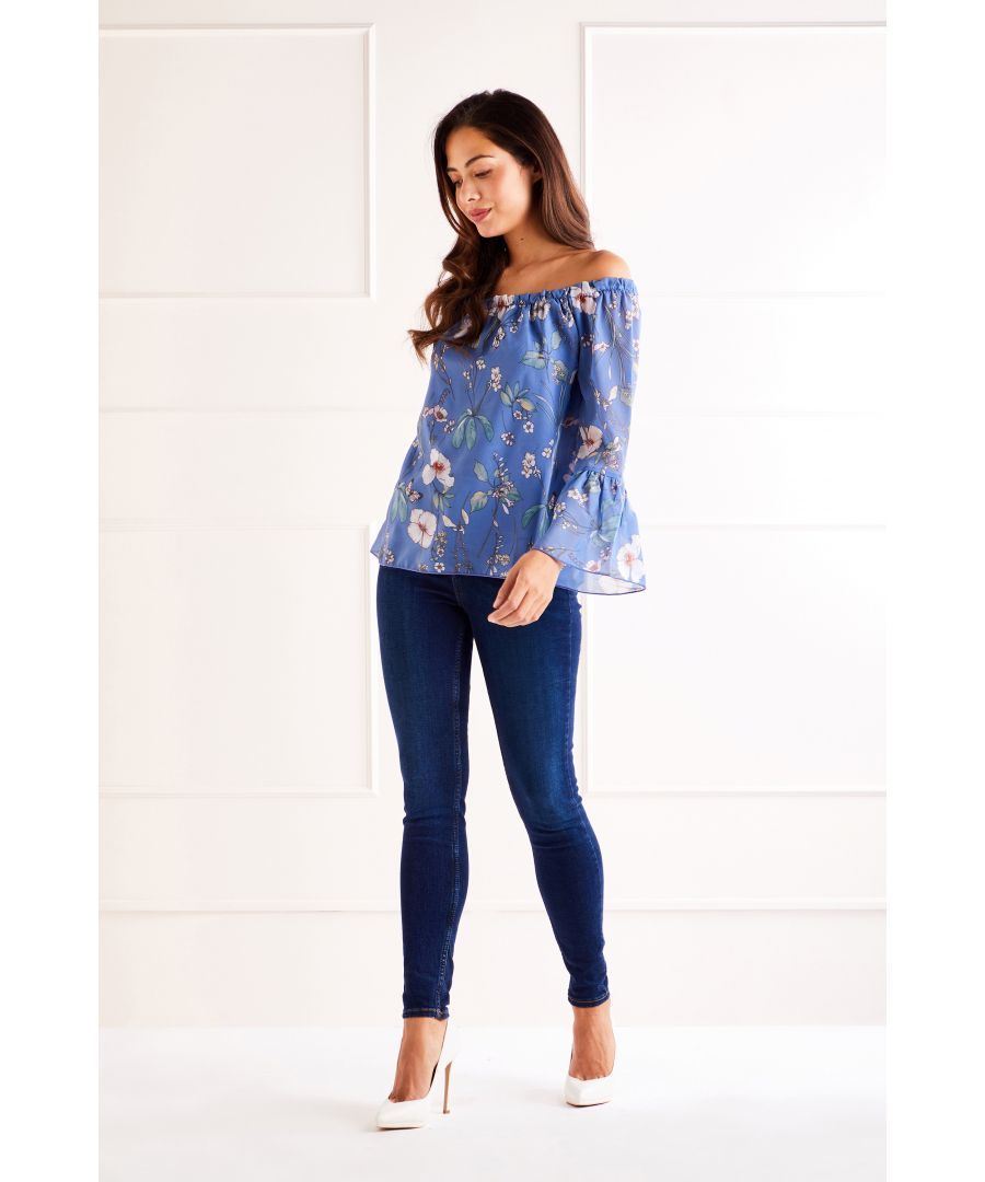 Image for Blue Garden Story Print Bardot Top