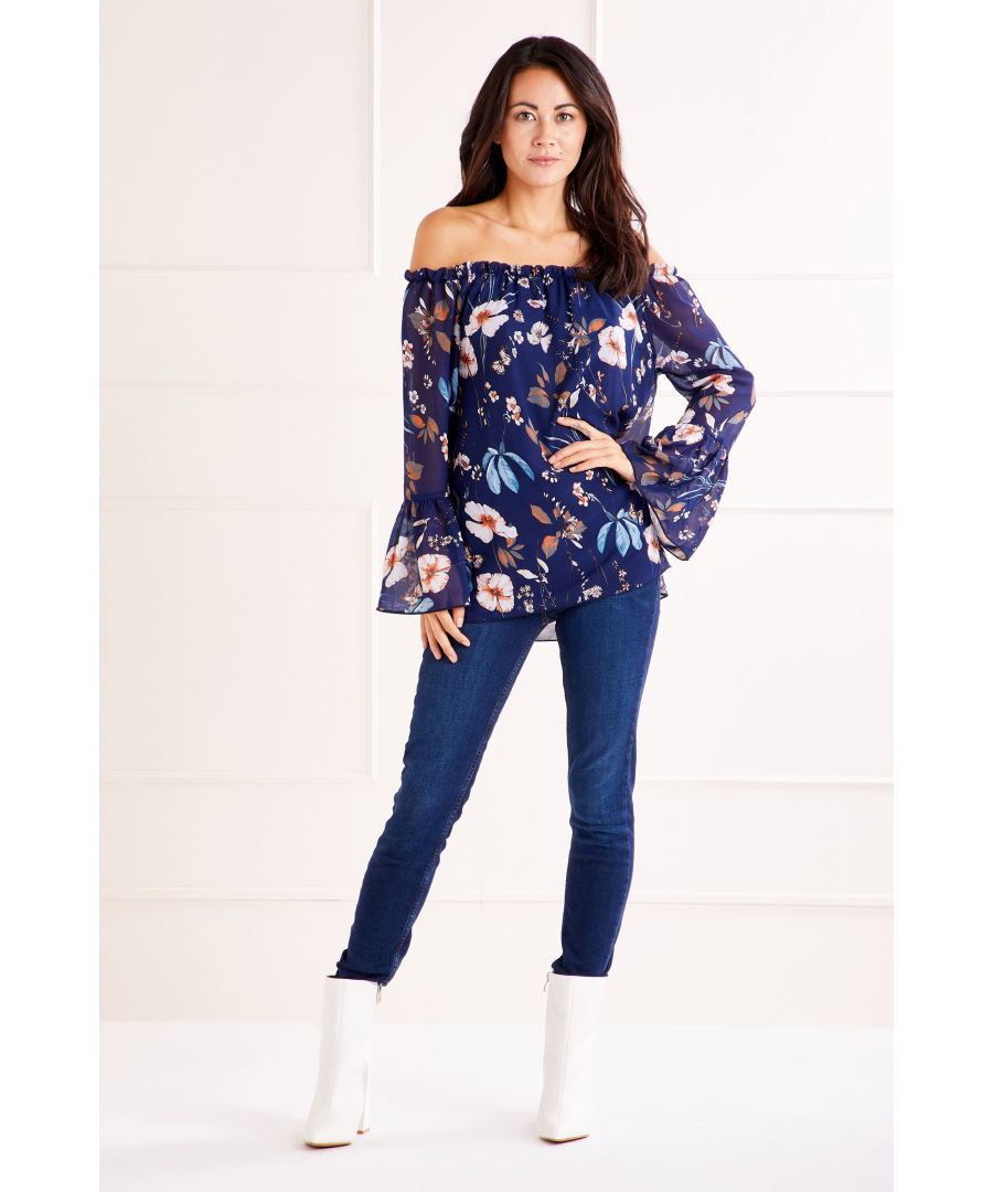 Image for Navy Garden Story Print Bardot Top