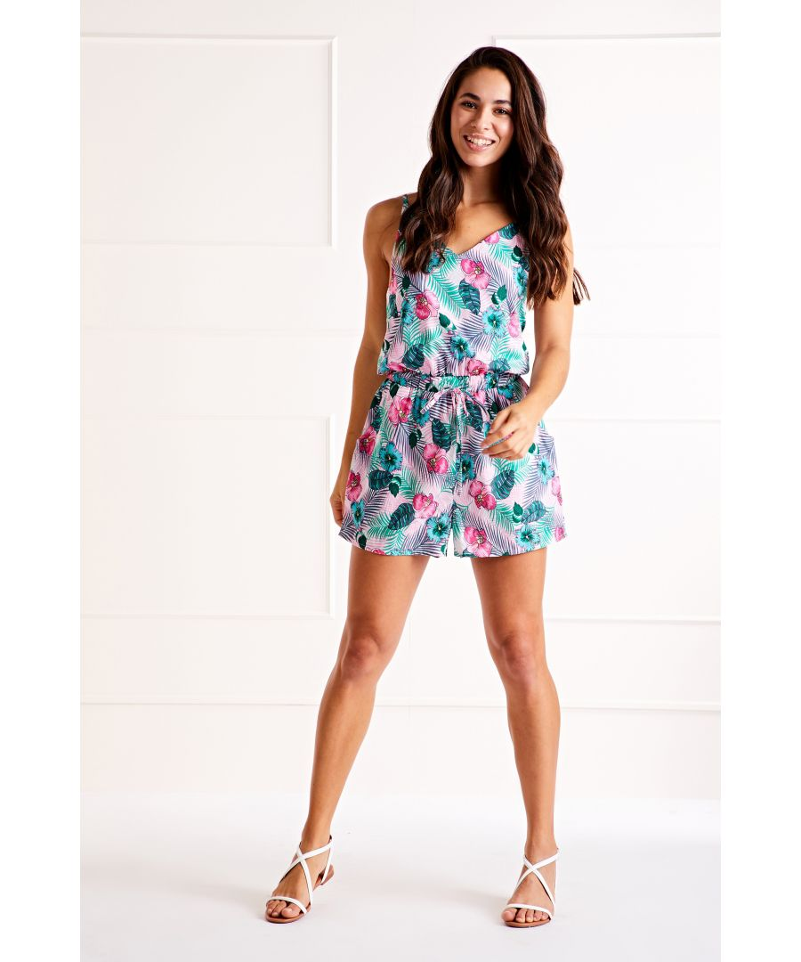 Image for Pink Tropical Leaf Playsuit