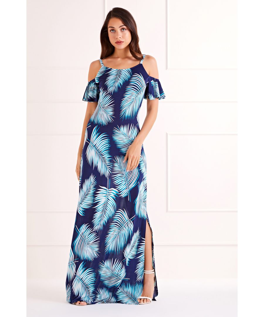 Image for Navy Palm Leaf Maxi Dress