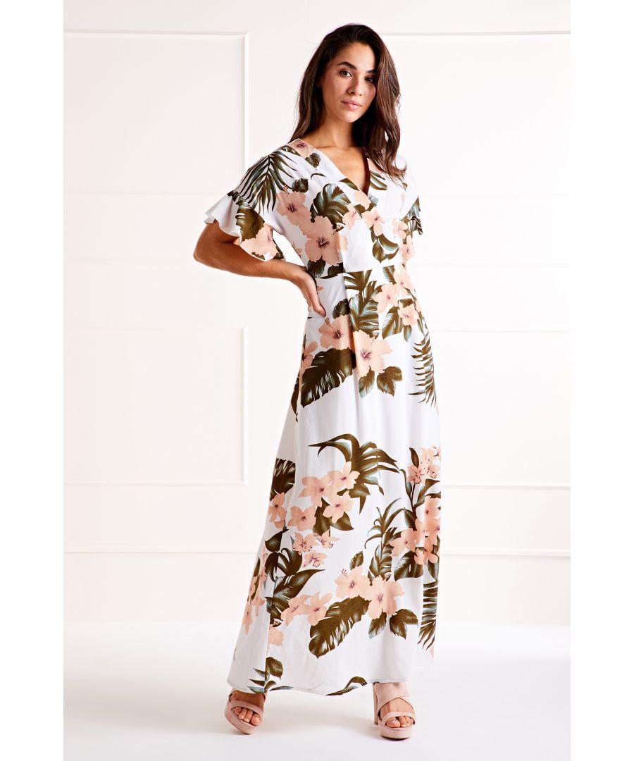 Image for Cream Tropical Pastel Print Dress
