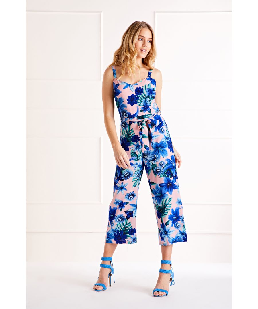 Image for Pink Tropical Summer Culotte Jumpsuit