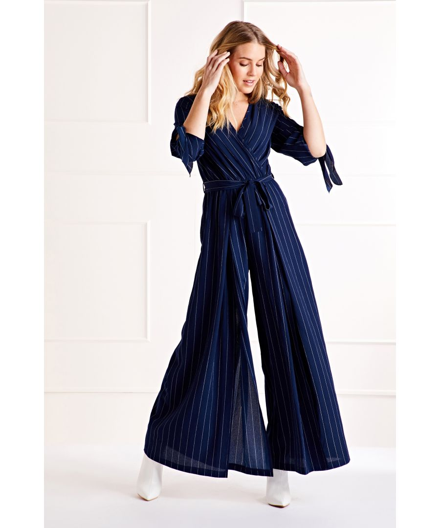 Image for Navy Tie Sleeve Jumpsuit