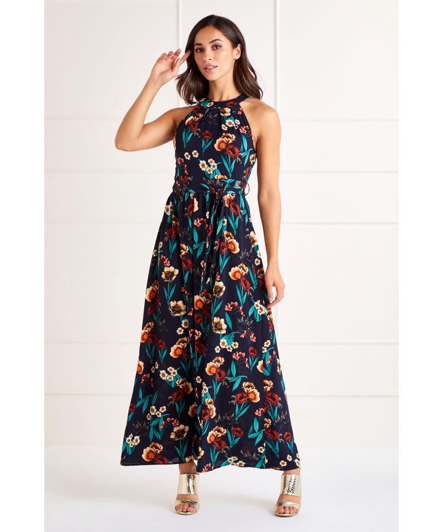 Image for Black Poppy Print High Neck Maxi Dress