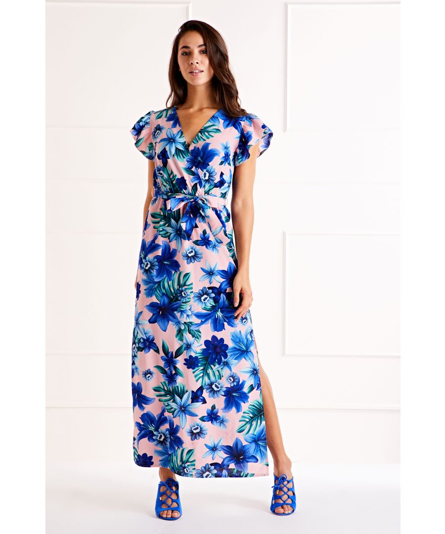 Image for Pink Tropical Ruffle Sleeve Maxi Dress