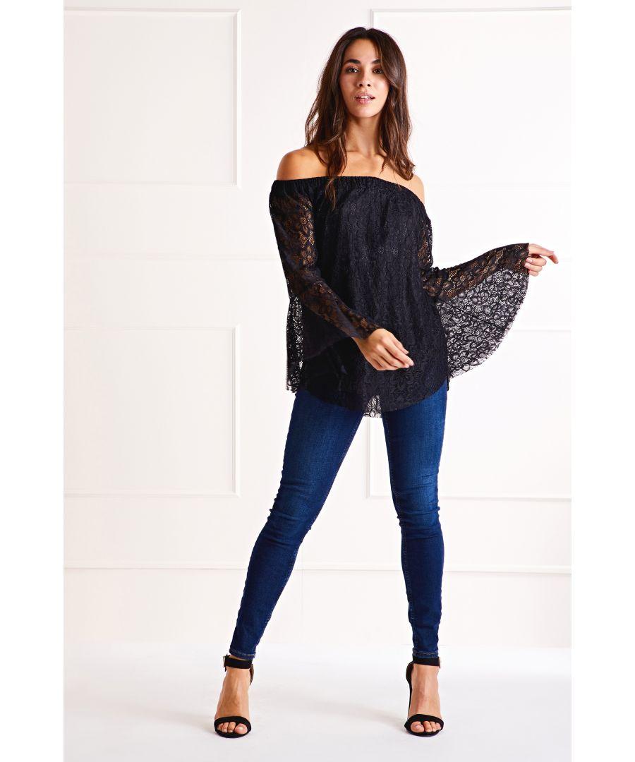 Image for Black Lace Bardot Blouse