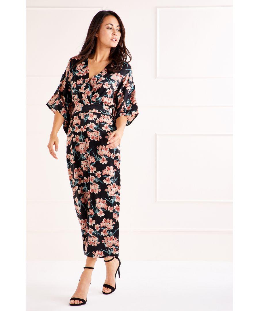 Image for Multi Satin Floral Jumpsuit