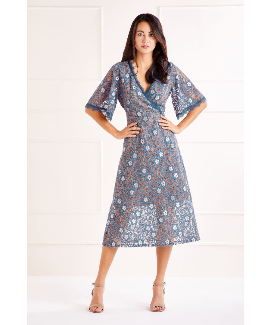 Image for Blue Front Wrap Lace Dress