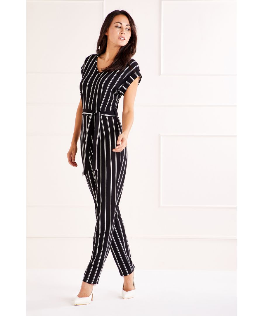 Image for Black Capped Sleeve Jumpsuit