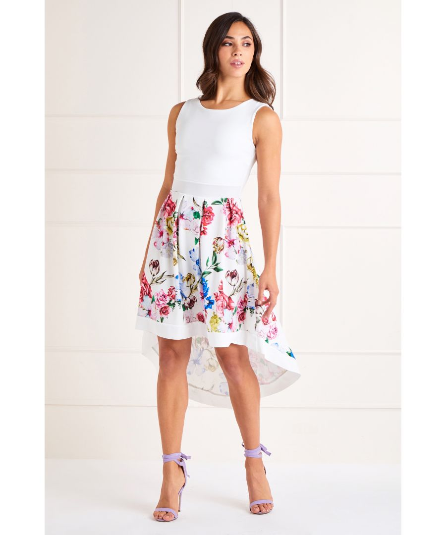 Image for White Floral Print High Low Dress