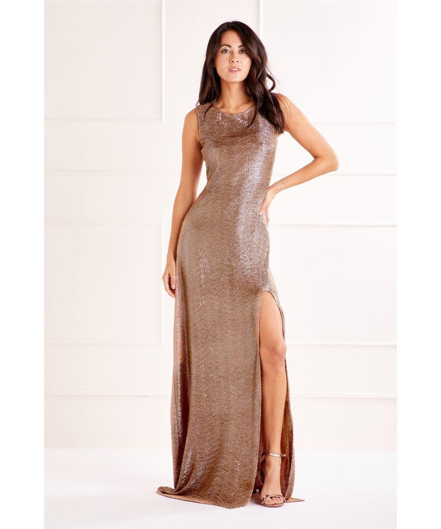 Image for Champagne Glitz Bodycon Maxi Dress