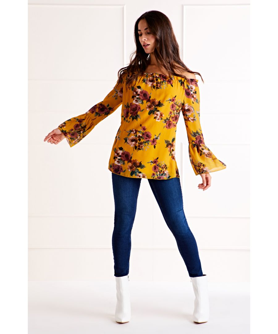 Image for Mustard Floral Print Bardot Top