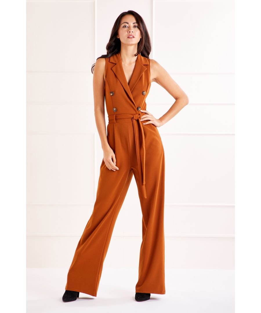 Image for Brown Military Collared Jumpsuit