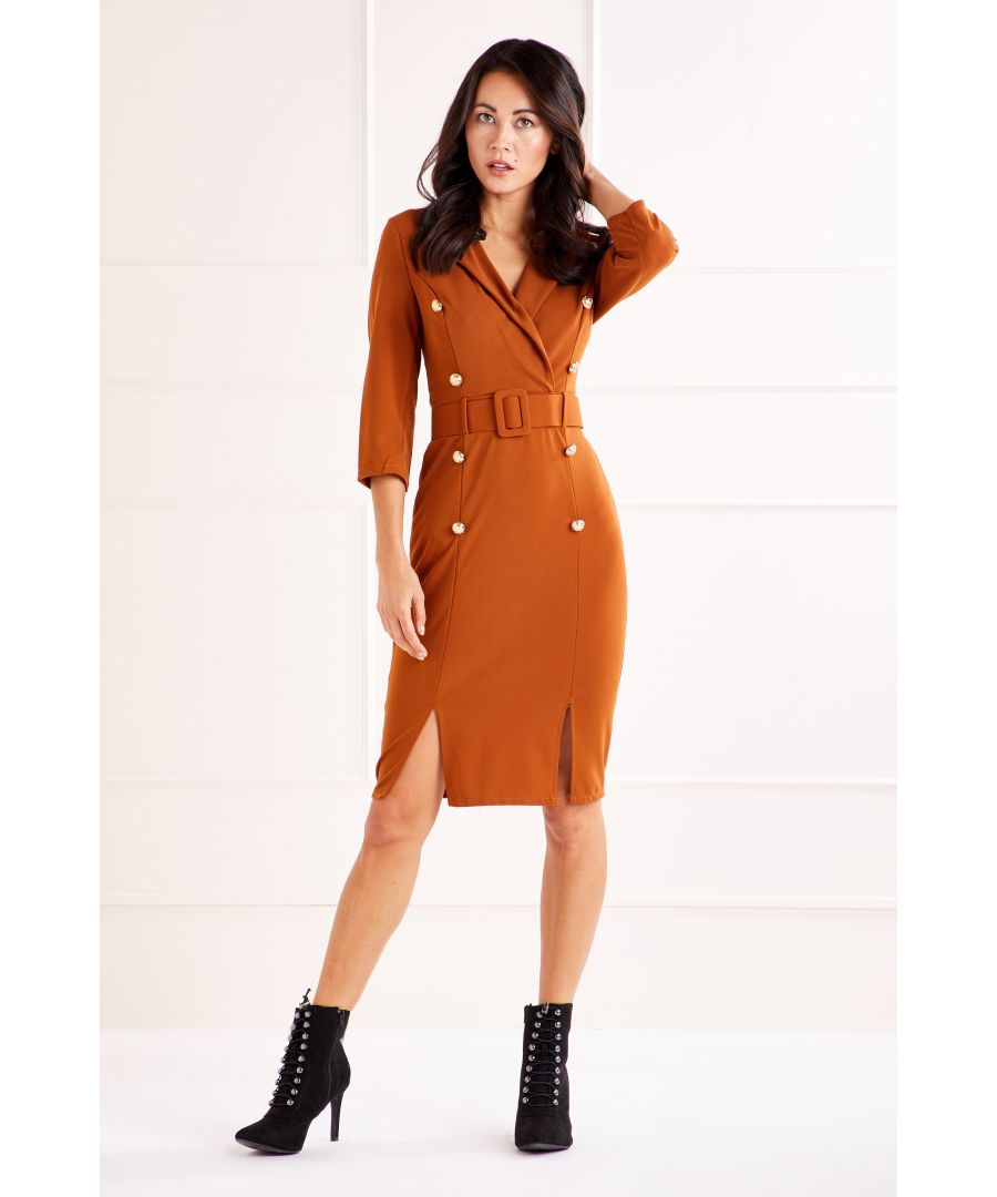 Image for Brown Military Collared Pencil Dress