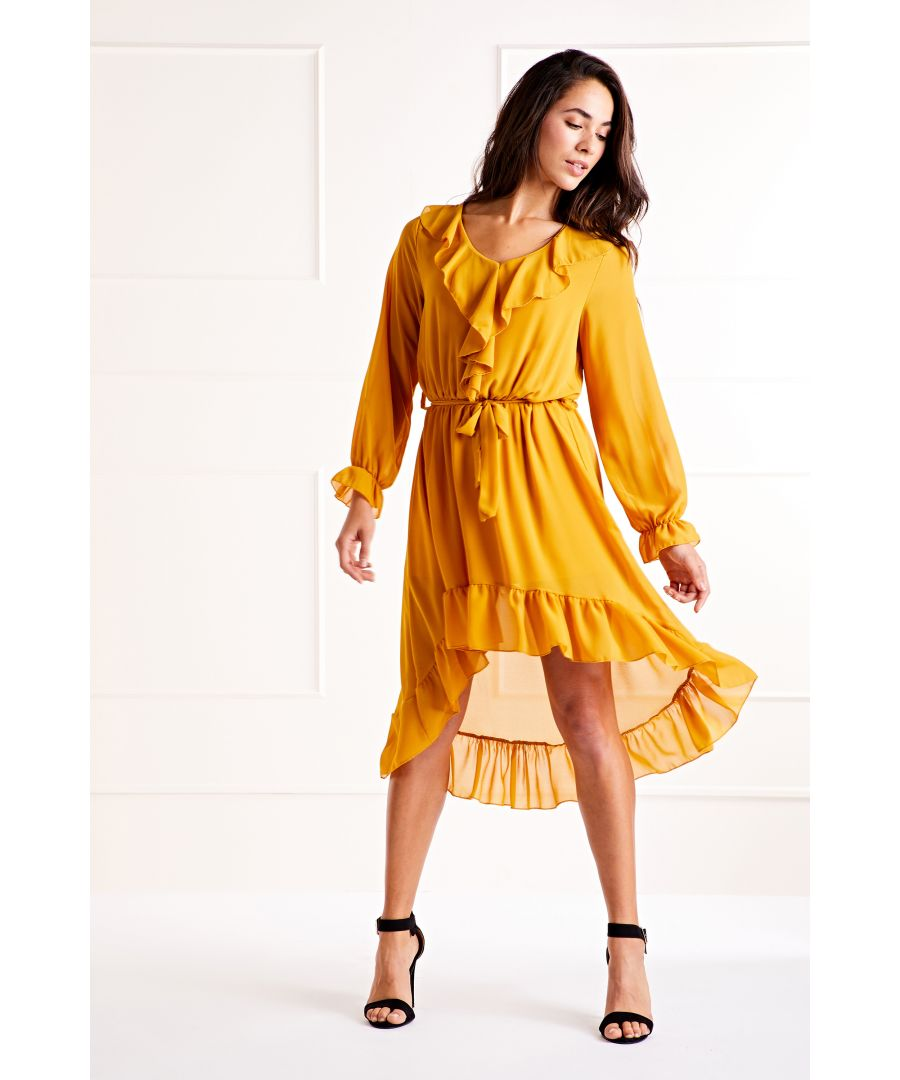 Image for Mustard Ruffle Front High Low Dress