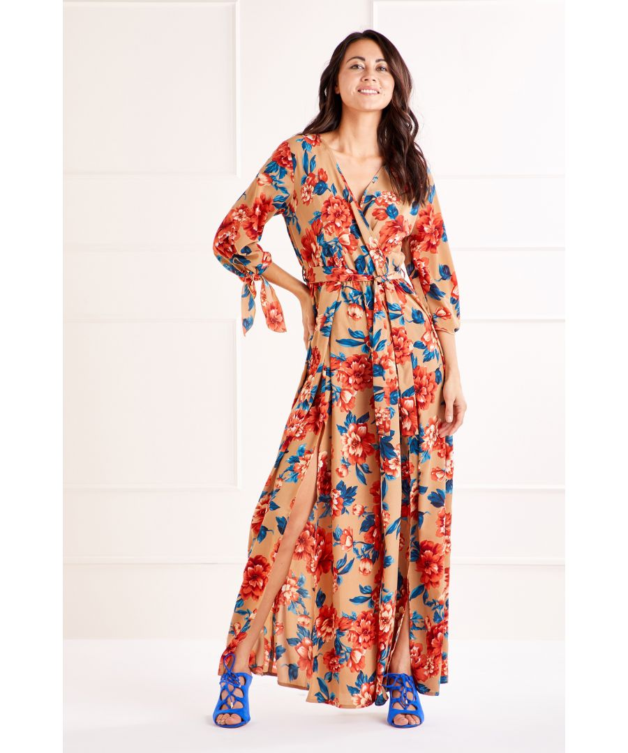 Image for Tan Tie Sleeve Printed Jumpsuit