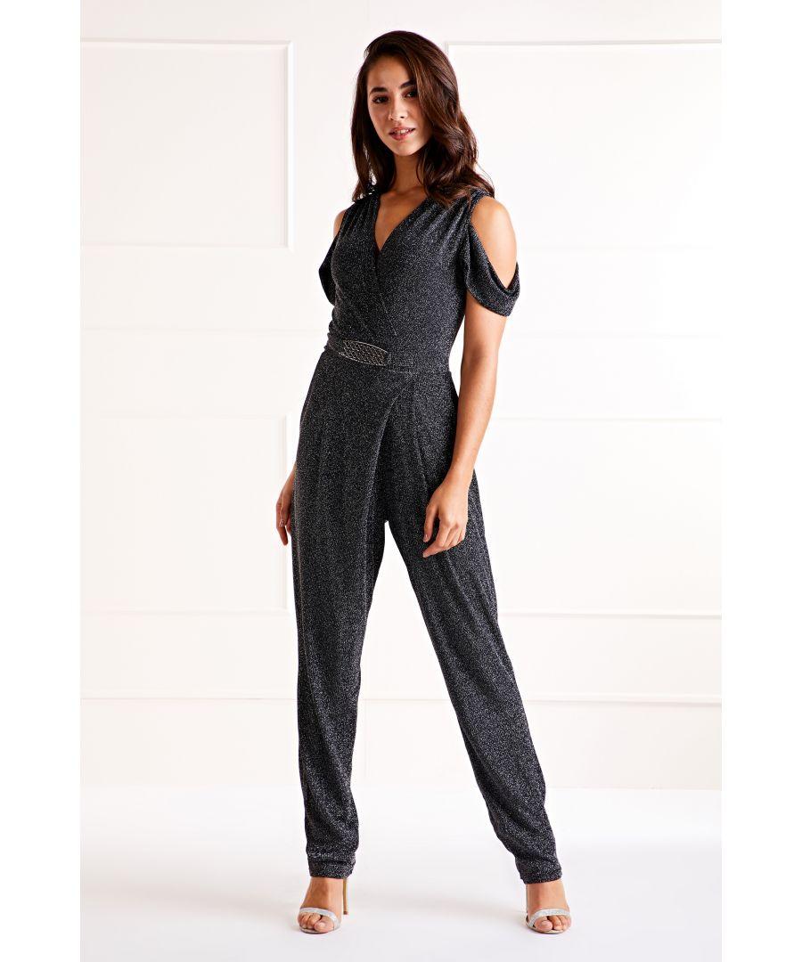 Image for Black Glitz Cold Shoulder Jumpsuit
