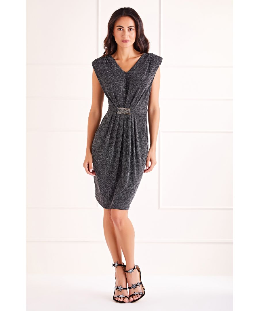 Image for Silver Glitz Belted Dress