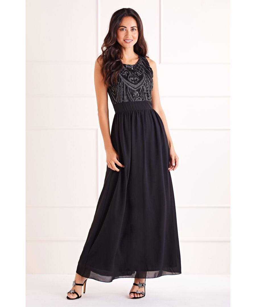 Image for Black Sequin Detailed Maxi Dress