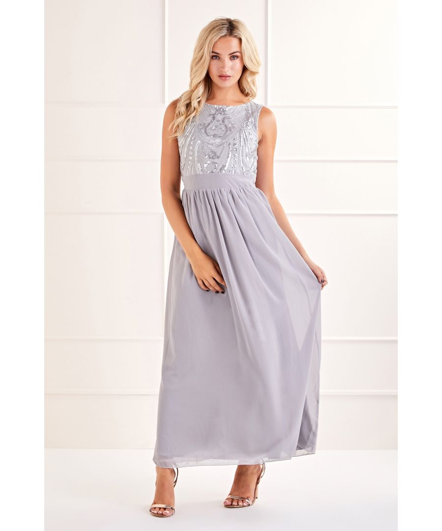 Image for Silver Sequin Detailed Maxi Dress