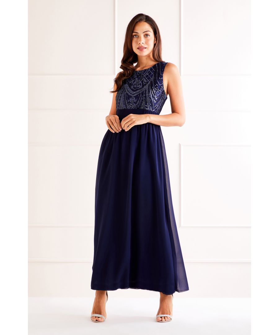 Image for Navy Sequin Detailed Maxi Dress