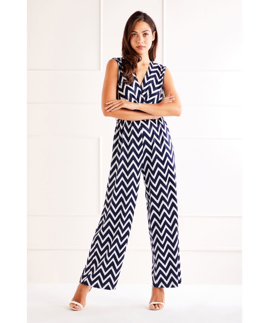 Image for Navy ZigZag Wrap Front Jumpsuit