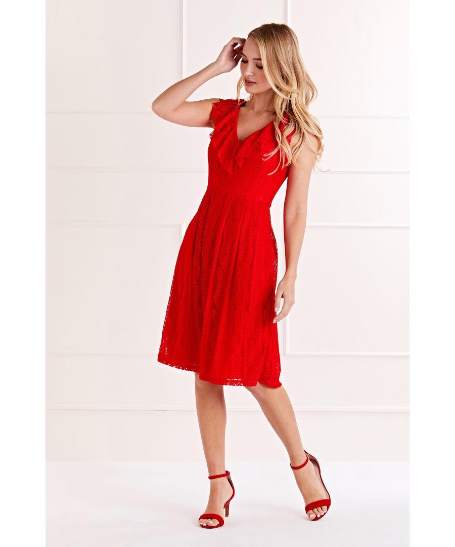 Image for Red V Neck Lace Dress