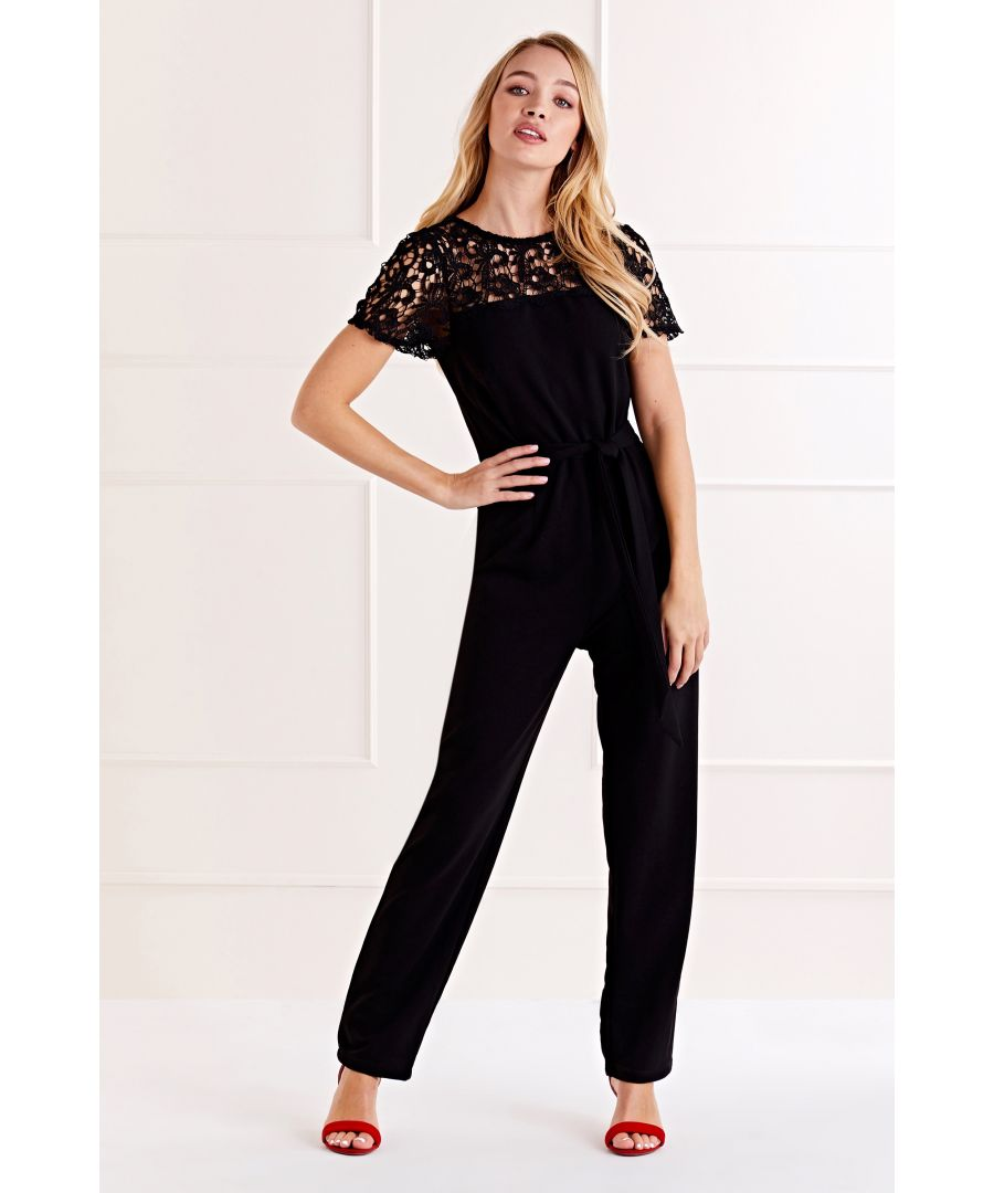 Image for Black Lace Shoulder Detail Jumpsuit